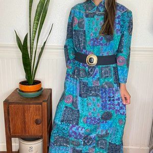 Vintage Appel Long Sleeve Patchwork Print Dress